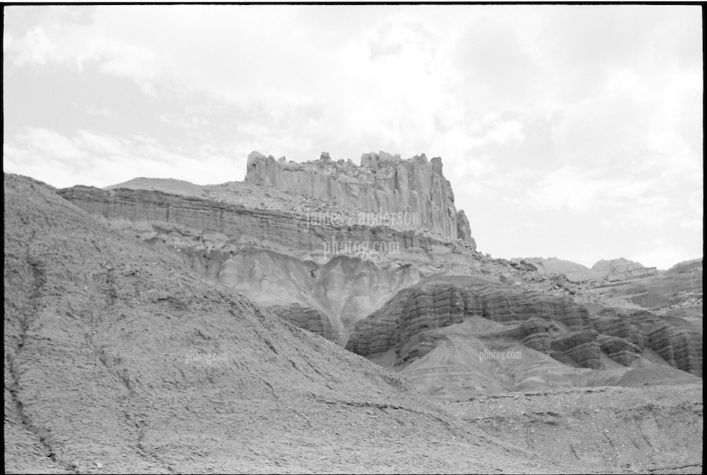 Capitol Reef National Park. Overview North. View shot on Tri-X, Nikon Ftn camera, Nikor 35mm f/2 lens. 500th sec F/11.5