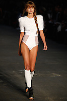 Abbey Lee Kershaw walks the runway wearing Alexander Wang Spring 2010 collection during Mercedes-Benz Fashion Week in New York, NY on September 11, 2009