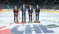 REGINA, SK - MAY 26: Humanitarian of the Year Garrett McFadden of Guelph Storm, Defenceman of the Year Nicolas Hague of Mississauga Steelheads, Coach of the Year Drew Bannister of the Sault Ste. Marie Greyhounds and Top Prospect Andrei Svechnikov of Barrie Colts at the Brandt Centre on May 26, 2018 in Regina, Canada. (Photo by Marissa Baecker/CHL Images)