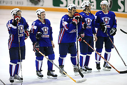 Slovenian team (Damjan Dervaric, Dejan Varl, Marcel Rodman, David Rodman, Anze Terlikar) sad after ice-hockey game Slovenia vs Slovakia at second game in  Relegation  Round (group G) of IIHF WC 2008 in Halifax, on May 10, 2008 in Metro Center, Halifax, Nova Scotia, Canada. Slovakia won after penalty shots 4:3.  (Photo by Vid Ponikvar / Sportal Images)