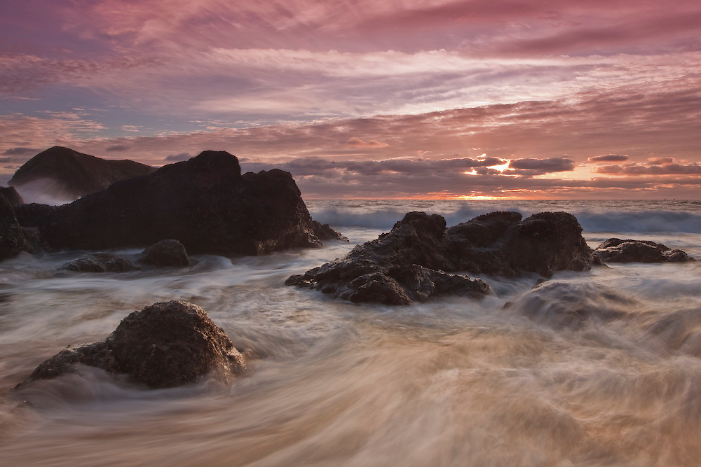 long exposure during sunset on the rocky california coast near fort baker in sausalito california