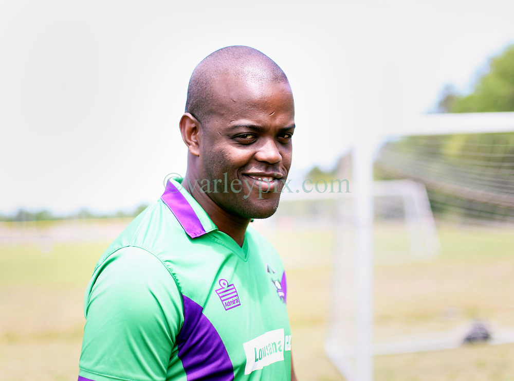 09 April 2016. Hammond, Louisiana.<br /> South Tangi Youth Soccer Association (STYSA), Chappapeela Sports Complex, 30th Annual Strawberry Cup,  <br /> New Orleans Jesters Youth Academy coach Thando Ngwane. <br /> Photo&copy;; Charlie Varley/varleypix.com