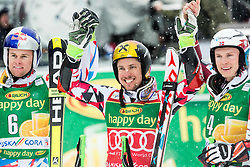 Second placed Alexis Pinturault (FRA), winner Marcel Hirscher (AUT) and third placed Henrik Kristoffersen (NOR) celebrate after the10th Men's Giant Slalom race of FIS Alpine Ski World Cup 55th Vitranc Cup 2016, on March 5, 2016 in Kranjska Gora, Slovenia. Photo by Vid Ponikvar / Sportida
