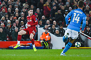 Liverpool defender Andrew Robertson (26) in action during the Champions League match between Liverpool and Napoli at Anfield, Liverpool, England on 27 November 2019.