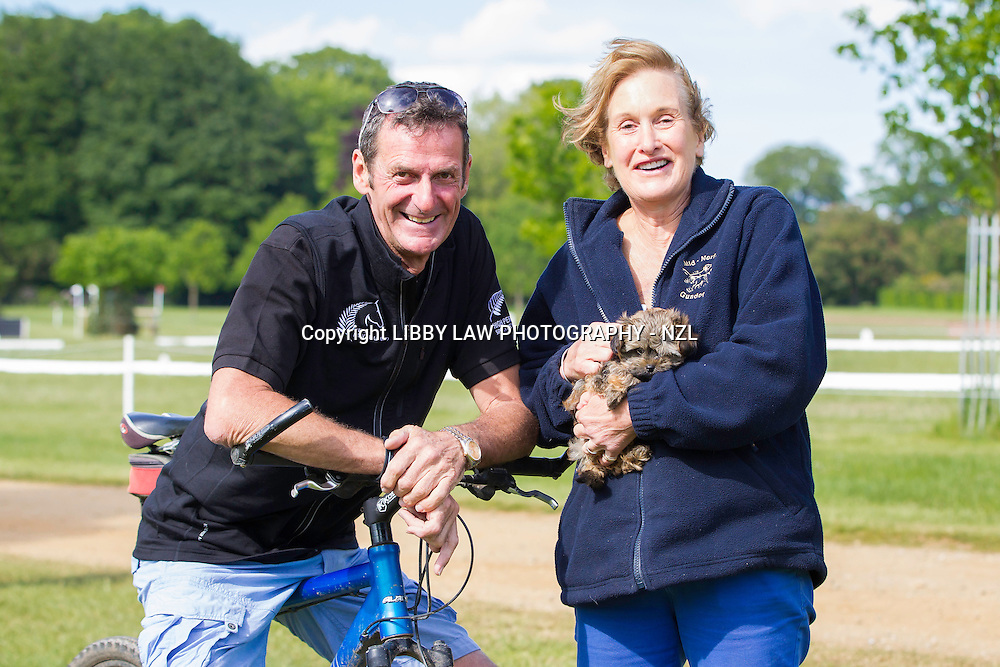 NZL-Sir Mark Todd with  his great friend: Lizzie and a cuddly little friend: 2014 GBR-Houghton International Horse Trail (Friday 23 May) CREDIT: Libby Law COPYRIGHT: LIBBY LAW PHOTOGRAPHY - NZL