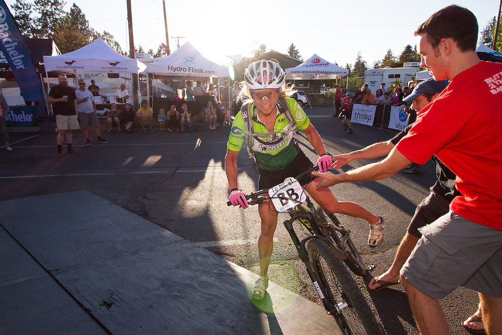 Brooke Blackwelder (Sagebrush Cycles) heading into a drinking contest.  © Brian Nelson