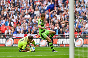 Tranmere Rovers goalkeeper Scott Davies(1) saves at the feet of Forest Green Rovers Christian Doidge(9) during the Vanarama National League Play Off Final match between Tranmere Rovers and Forest Green Rovers at Wembley Stadium, London, England on 14 May 2017. Photo by Adam Rivers.