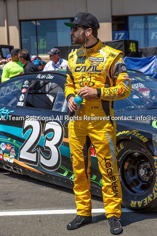SONOMA, CA - JUNE 24:  Alon Day (#23), the first Israeli driver getting ready for qualifying for the Monster Energy NASCAR Cup held at Sonoma Raceway on June 23-25, 2017. (Photo by Allan Hamilton/Icon Sportswire)
