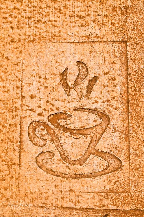 Coffee cup design at the Kauai Coffee Company. Island of Kauai, Hawaii