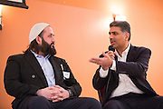 Abobaker Mojadidi, left, and Ashwani Dhall have a panel discussion during the World Culture Festival Bay Area Curtain Raiser event at the India Community Center in Milpitas, California, on January 20, 2016. (Stan Olszewski/SOSKIphoto)