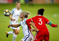 Isobel Christiansen of England in action with Anna Kozhnikova of Russia - Mandatory by-line: Matt McNulty/JMP - 19/09/2017 - FOOTBALL - Prenton Park - Birkenhead, United Kingdom - England v Russia - FIFA Women's World Cup Qualifier
