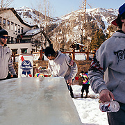 Team Hostel X warms up on the official Gelande Quaff tables prior to the official start of the competition. Chris Reed catching and drinking.