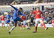 Gillingham forward Dominic Samuel with the shot for the second goal (own goal by Crewe defender Jon Guthrie) during the Sky Bet League 1 match between Gillingham and Crewe Alexandra at the MEMS Priestfield Stadium, Gillingham, England on 12 March 2016. Photo by David Charbit.
