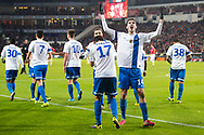 EINDHOVEN, PSV - Vitesse, voetbal Eredivisie, seizoen 2013-2014, 07-12-2013, Philips Stadion, Vitesse viert de 0-1 van Vitesse speler Lucas Piazon (M), Vitesse speler Mike Havenaar (2R).