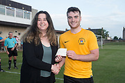 DUMS captain Kieran Owens presents a cheque for &pound;500 from the Dundee Saturday Morning League to Jordan Butler of charity TOGS<br /> <br /> <br />  - &copy; David Young - www.davidyoungphoto.co.uk - email: davidyoungphoto@gmail.com