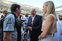 Former Spanish King Juan Carlos with Carmen Jorda (ESP) Renault Sport F1 Team Development Driver and Steve Curnow (GBR) Sahara Force India F1 Team Commercial Director.<br /> 27.11.2016. Formula 1 World Championship, Rd 21, Abu Dhabi Grand Prix, Yas Marina Circuit, Abu Dhabi, Race Day.<br /> Copyright: Moy / XPB Images / action press