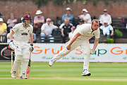 Luke Fletcher of Nottinghamshire bowling during the Specsavers County Champ Div 1 match between Somerset County Cricket Club and Nottinghamshire County Cricket Club at the Cooper Associates County Ground, Taunton, United Kingdom on 10 June 2018. Picture by Graham Hunt.