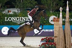Al Rumaihi Ali Yousef, (QAT), Gunder, FEI President<br /> Logines Challenge Cup<br /> Furusiyya FEI Nations Cup Jumping Final - Barcelona 2015<br /> © Dirk Caremans<br /> 25/09/15