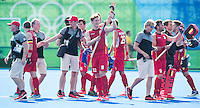 RIO DE JANEIRO  (Brazilië) - Happy  Belgium team after  the poule match hockey men Belgium v Great Britain (4-1),  Olympic Games 2016 . Copyright Koen Suyk