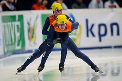 14-01-2011 SHORTTRACK: ISU EUROPEAN SHORTTRACK SPEEDSKATING CHAMPIONSHIPS: HEERENVEEN<br /> Daan Breeuwsma and Sjinkie Knegt in action on 5000m relay<br /> ©2011-WWW.FOTOHOOGENDOORN.NL