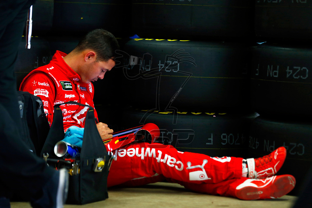 September 22, 2017 - Loudon, New Hampshire, USA: Kyle Larson (42) hangs out in the garage during practice for the ISM Connect 300 at New Hampshire Motor Speedway in Loudon, New Hampshire.