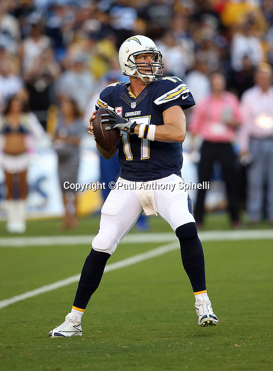 San Diego Chargers quarterback Philip Rivers (17) drops back to pass during the 2015 NFL week 5 regular season football game against the Pittsburgh Steelers on Monday, Oct. 12, 2015 in San Diego. The Steelers won the game 24-20. (©Paul Anthony Spinelli)