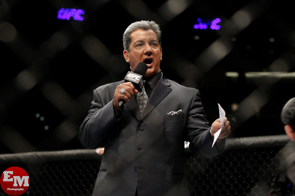 October 24, 2009; Los Angeles, CA; USA; Bruce Buffer announces at UFC 104 at the Staples Center.  Velasquez won via 2nd round stoppage.  Mandatory Credit:  Ed Mulholland