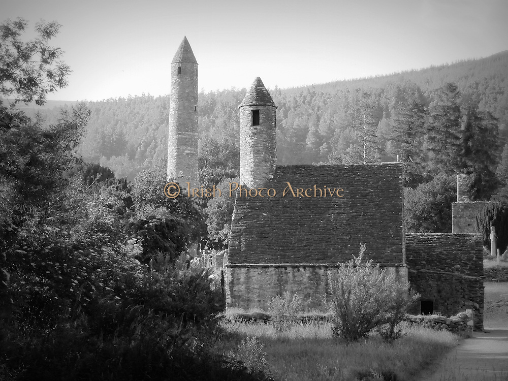 St Kevins Church and Round Tower, Glendalough Wicklow,  12th,
