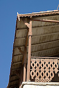 Detail of old wooden balcony in Mutrah.