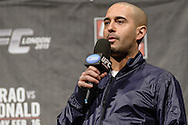 "LONDON, ENGLAND, FEBRUARY 15, 2013: Jon Anik hosts the ""Fight Club"" Q&A session ahead of the weigh-ins for UFC on Fuel TV 7 inside Wembley Arena in London, England on Friday, February 15, 2013 © Martin McNeil"