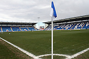 The calm before the Sky Bet League 1 match between Colchester United and Burton Albion at the Weston Homes Community Stadium, Colchester, England on 23 April 2016. Photo by Nigel Cole.