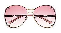 Steve Madden pink sunglasses on white background