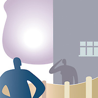 Conceptual illustration of neighbours with a problem