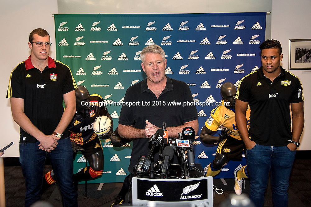 NZRU Steve Tew (C speaks to the media with Hurricanes' Julian Savea (L) and Chiefs' Brodie Retallick after the pair re-signed for four more years during a press conference at the New Zealand Rugby Union HQ in Wellington on Wednesday the 27th of May 2015. Photo by Marty Melville / www.Photosport.co.nz