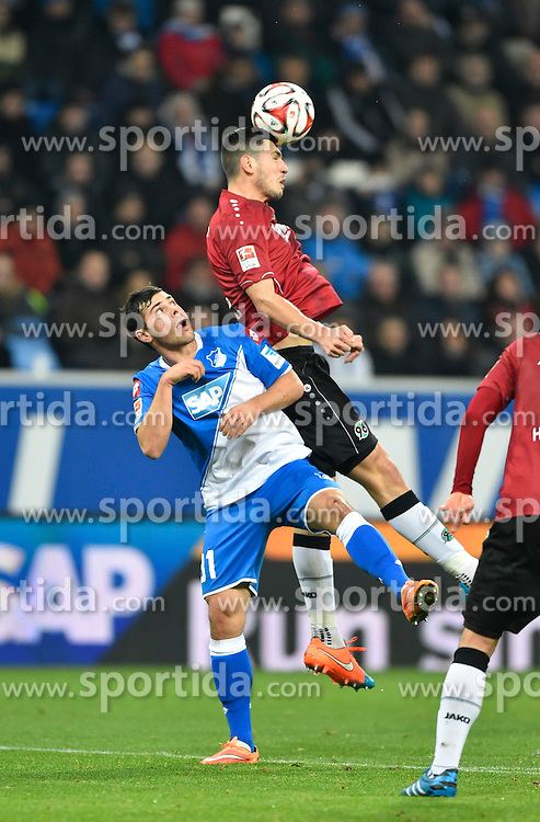 29.11.2014, Rhein Neckar Arena, Sinsheim, GER, 1. FBL, TSG 1899 Hoffenheim vs Hannover 96, 13. Runde, im Bild Kopfballduell Zweikampf Aktion Kevin Volland (links) gegen Ceyhun Guelselam Hannover 96 (rechts) // during the German Bundesliga 13th round match between TSG 1899 Hoffenheim and Hannover 96 at the Rhein Neckar Arena in Sinsheim, Germany on 2014/11/29. EXPA Pictures © 2014, PhotoCredit: EXPA/ Eibner-Pressefoto/ Weber<br /> <br /> *****ATTENTION - OUT of GER*****