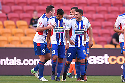 October 22, 2017 - Brisbane, QUEENSLAND, AUSTRALIA - Dimitri Petratos of the Jets (#7, right) celebrates with team mates after scoring a goal during the round three Hyundai A-League match between the Brisbane Roar and the Newcastle Jets at Suncorp Stadium on October 22, 2017 in Brisbane, Australia. (Credit Image: © Albert Perez via ZUMA Wire)