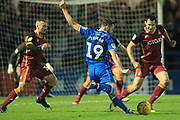 Bradden Inman shoots during the EFL Sky Bet League 1 match between Rochdale and Bradford City at Spotland, Rochdale, England on 29 December 2018.