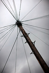 UK ENGLAND LONDON 1MAY12 - Cluttered telephone mast and wires on Portnall Road in Maida Vale, west London.....jre/Photo by Jiri Rezac....© Jiri Rezac 2012