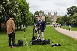© Licensed to London News Pictures. 16/05/2018. Windsor, UK. International media report from the Long Walk in Windsor ahead of the Royal Wedding. Prince Harry and Meghan Markle are to be married on Saturday in Windsor. Photo credit: Rob Pinney/LNP