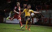 Darren Jones looks to clear during the Sky Bet League 2 match between Crawley Town and Newport County at the Checkatrade.com Stadium, Crawley, England on 1 March 2016. Photo by Michael Hulf.