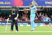 Chris Woakes of England thinks he has the wicket of Henry Nicholls of New Zealand lbw but he is given not out after a review during the ICC Cricket World Cup 2019 Final match between New Zealand and England at Lord's Cricket Ground, St John's Wood, United Kingdom on 14 July 2019.