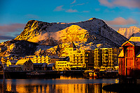 View over the harbor, Svolvaer, on Austvagoya Island, Lofoten Islands, Arctic, Northern Norway.