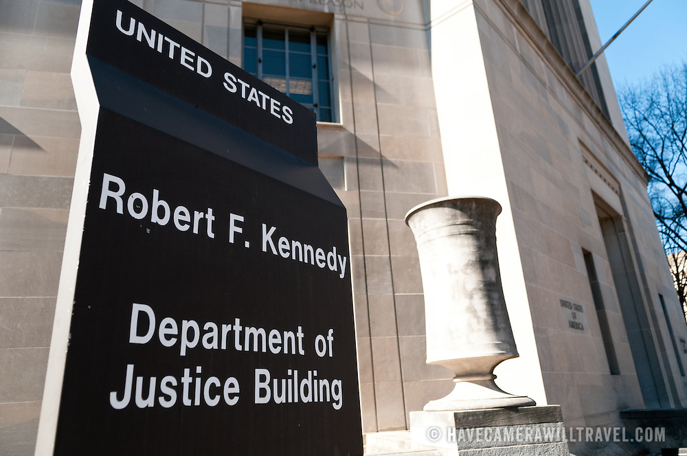 The Robert F. Kennedy Department of Justice Building at 950 Pennsylvania Ave NW in downtown Washington DC. It is the main national headquarters of the DoJ.