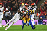 Cincinnati Bengals Defensive Back Shawn Williams (36) tackles LA Rams Wide Receiver Cooper Kupp (18) during the International Series match between Los Angeles Rams and Cincinnati Bengals at Wembley Stadium, London, England on 27 October 2019.