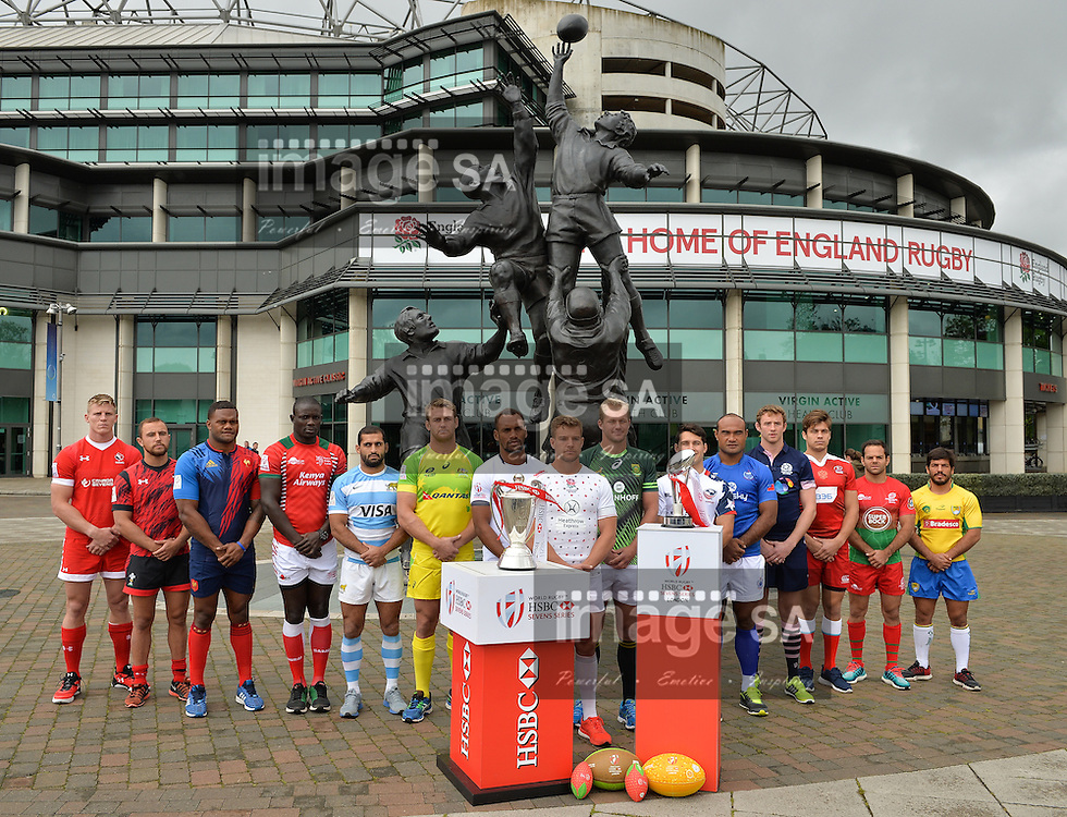 LONDON, ENGLAND - MAY 18: Philip Snyman, captain of the South African Sevens team amongst other fellow captains during the HSBC London Sevens Captains Photocall session at Twickenham Stadium on May 18, 2016 in London, England. (Photo by Roger Sedres/Gallo Images)