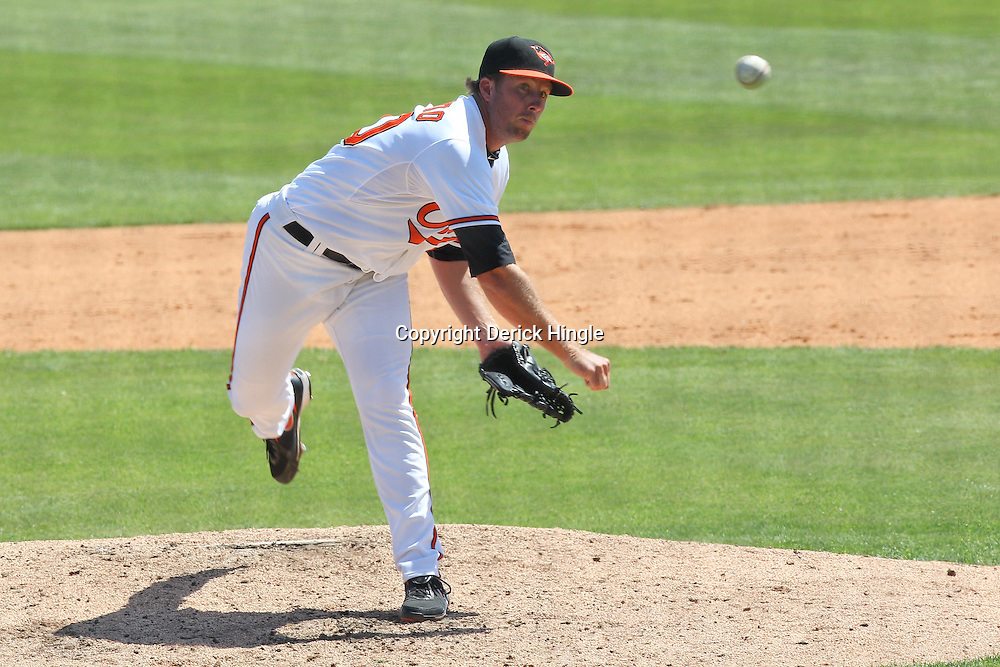 March 14, 2011; Sarasota, FL, USA; Baltimore Orioles relief pitcher Jeremy Accardo (50) during a spring training exhibition game against the Pittsburgh Pirates at Ed Smith Stadium.   Mandatory Credit: Derick E. Hingle