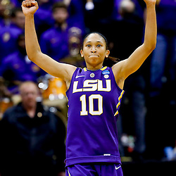 Mar 26, 2013; Baton Rouge, LA, USA; LSU Tigers guard Adrienne Webb (10) celebrates after a win over the Penn State Lady Lions during the second round of the 2013 NCAA womens basketball tournament at Pete Maravich Assembly Center. LSU defeated Penn State 71-66. Mandatory Credit: Derick E. Hingle-USA TODAY Sports