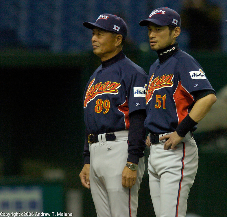 Team Japan manager Sadaharu Oh (L) and Ichiro Suzuki (R) during player introductions before the start of the second game of the World Baseball Classic against Team China at Tokyo Dome, Tokyo, Japan.