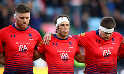 Darren Barry, Dean Hammond and Ryan Bower of Worcester Warriors - Mandatory by-line: Robbie Stephenson/JMP - 12/11/2017 - RUGBY - Twickenham Stoop - London, England - Harlequins v Worcester Warriors - Anglo-Welsh Cup