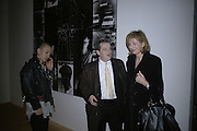 terence Koh, Norman Rosenthall and Julia Peyton Jones, Gilbert and George Major Exhibition. Tate Modern. Afterwards dinner at Christchurch Spitafields. London. 13 February 2007.  -DO NOT ARCHIVE-© Copyright Photograph by Dafydd Jones. 248 Clapham Rd. London SW9 0PZ. Tel 0207 820 0771. www.dafjones.com.